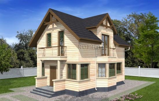 Проект одноэтажного дома с мансардой и эркером Rg4960