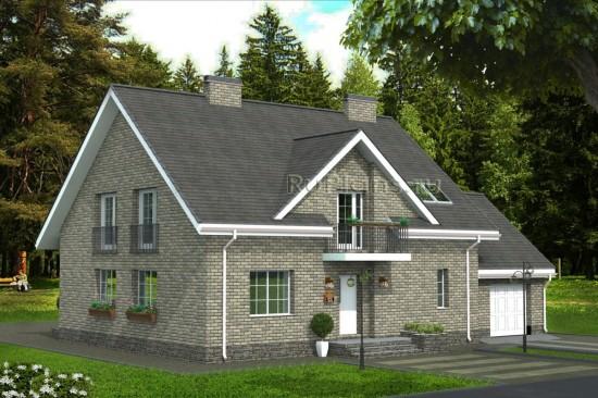 Проект компактного одноэтажного дома с мансардой и гаражом Rg4791