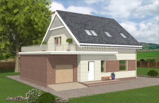 Одноэтажный дом с мансардой, гаражом и террасой Rg4934