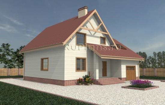 Проект одноэтажного коттеджа с мансардой Rg3454