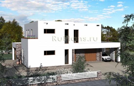 Проект двухэтажного стильного коттеджа Rg3796
