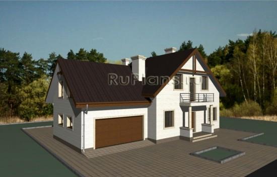 Проект одноэтажного дома с мансардой и гаражом Rg3369