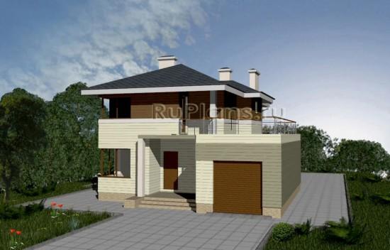 Проект комфортного коттеджа с балконом и террасой Rg3443