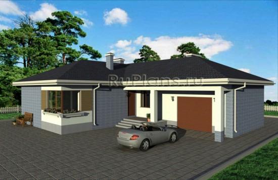 Проект одноэтажного дома с гаражом Rg1615