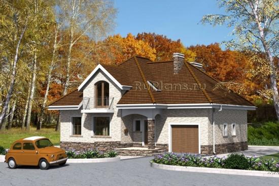 Проект оригинального одноэтажного дома с мансардой и гаражом Rg4740
