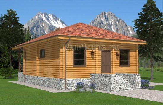 Проект одноэтажного дома из кедрового бруса Rg4958