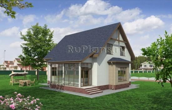 Проект дачного дома с эркером и мансардой Rg1594