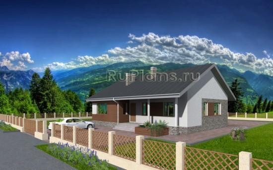 Проект одноэтажного дома с просторной террасой Rg3249