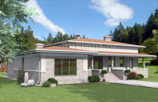 Проект одноэтажного дома с террасой Rg3959