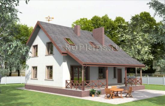 Проект дома с мансардой и просторной террасой Rg3860