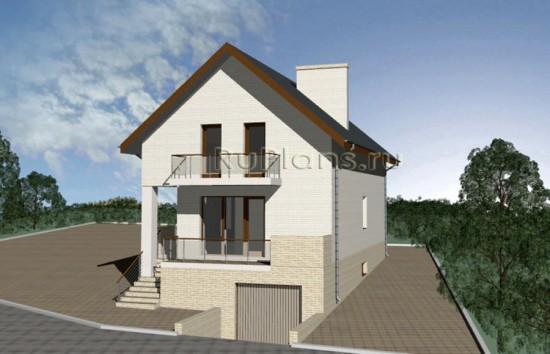 Проект узкого дома с мансардой, цоколем и гаражом Rg3352