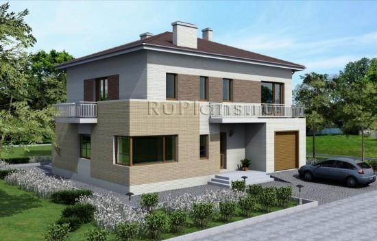 Проект двухэтажного дома с гаражом Rg4783