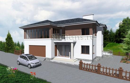Проект двухэтажного особняка с цокольным этажом Rg3711