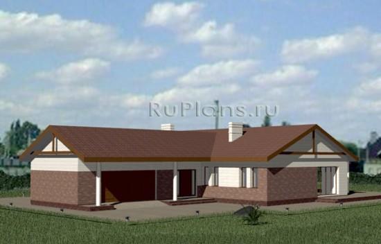 Проект одноэтажного дома с гаражом и террасой Rg3339