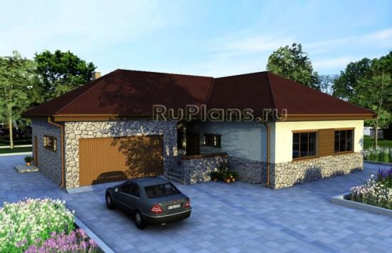Проект оригинального одноэтажного дома с гаражом Rg3340