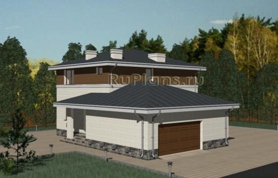 Проект двухэтажного дома с гаражом Rg3350