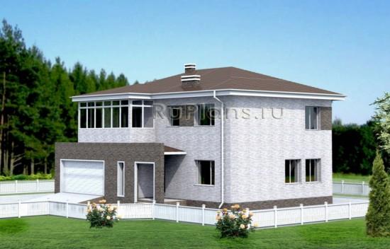 Проект просторного двухэтажного коттеджа с гаражом Rg4952