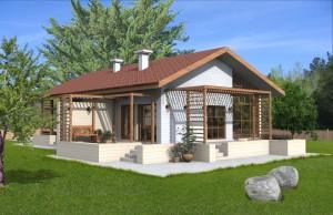 Проект одноэтажного дома с зимним садом и террасой Rg3966
