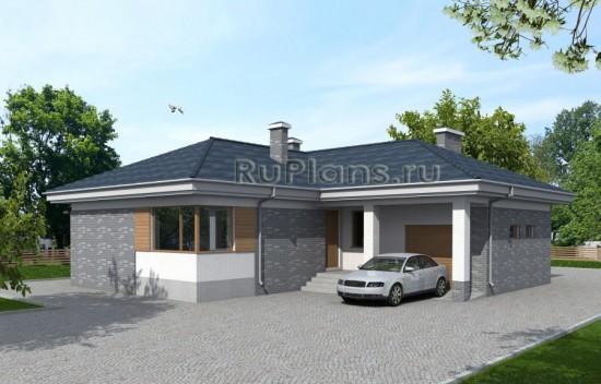 Проект одноэтажного дома с гаражом Rg3924