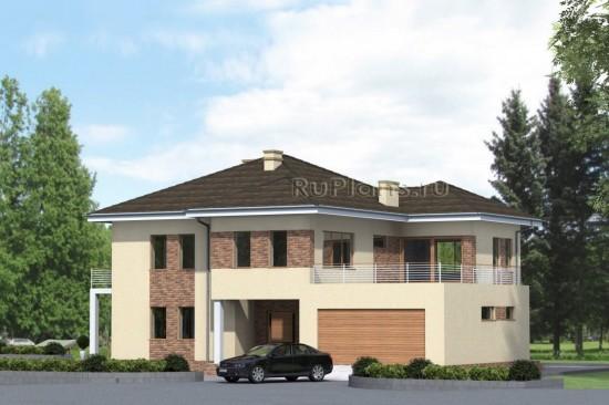 Проект большого двухэтажного жилого дома с гаражом Rg4753