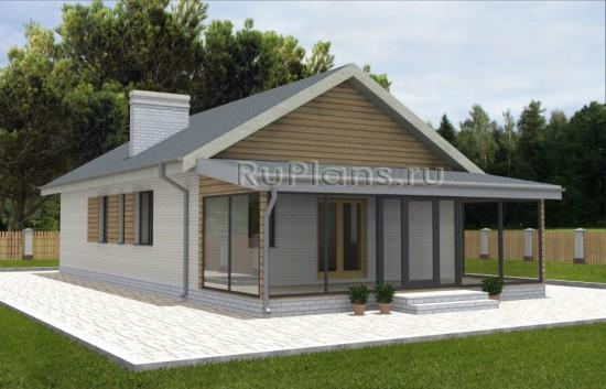 Небольшой одноэтажный дом с просторной верандой Rg3671