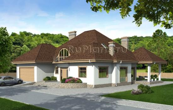 Проект просторного одноэтажного дома с мансардой Rg1582