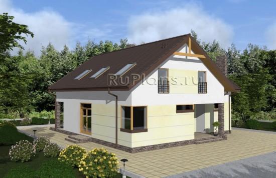 Одноэтажный дом с мансардой и террасой Rg4868