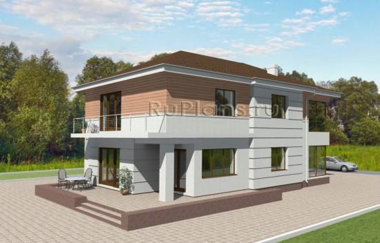 Двухэтажный дом с цоколем Rg3568